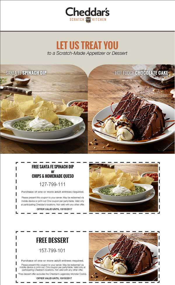 CheddarsScratchKitchen.com Promo Coupon Free dessert or spinach dip with your entree at Cheddars Scratch Kitchen