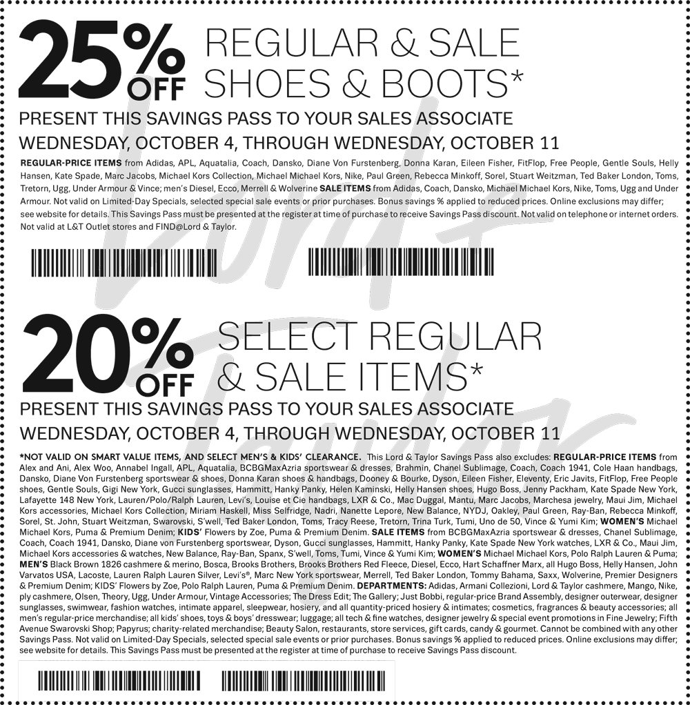 Lord & Taylor Coupon October 2018 20% off at Lord & Taylor, or 30% online via promo code FRIENDS