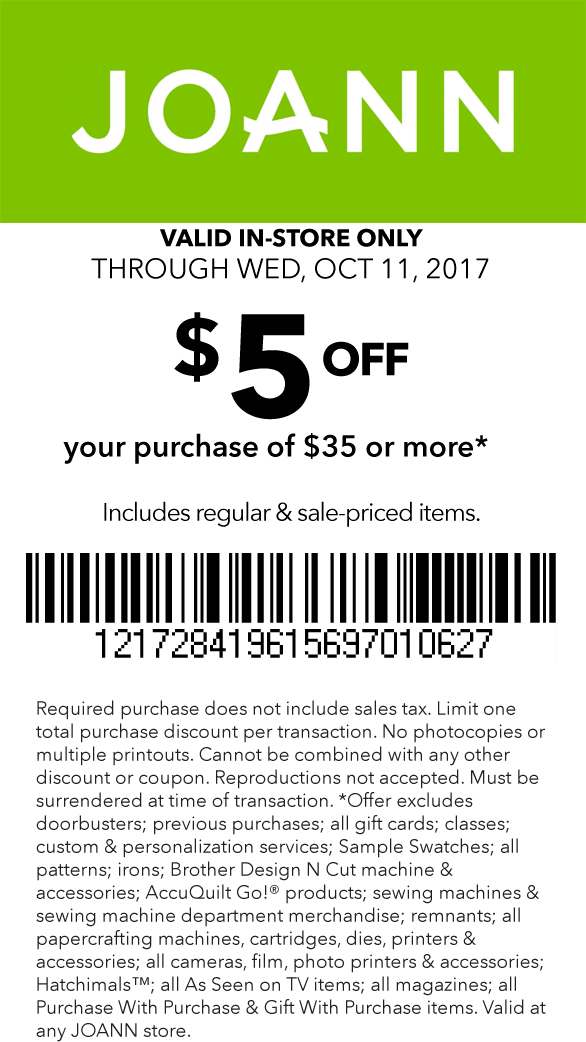 Jo-Ann Fabric Coupon March 2018 $5 off $35 today at Jo-Ann Fabric
