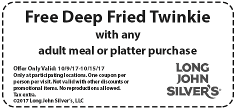 Long John Silvers Coupon February 2018 Free fried twinkie with your meal at Long John Silvers