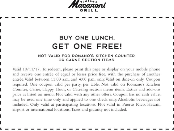 Macaroni Grill Coupon January 2018 Second lunch free today at Macaroni Grill
