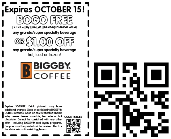 Biggby Coffee Coupon December 2018 Second coffee free at Biggby Coffee