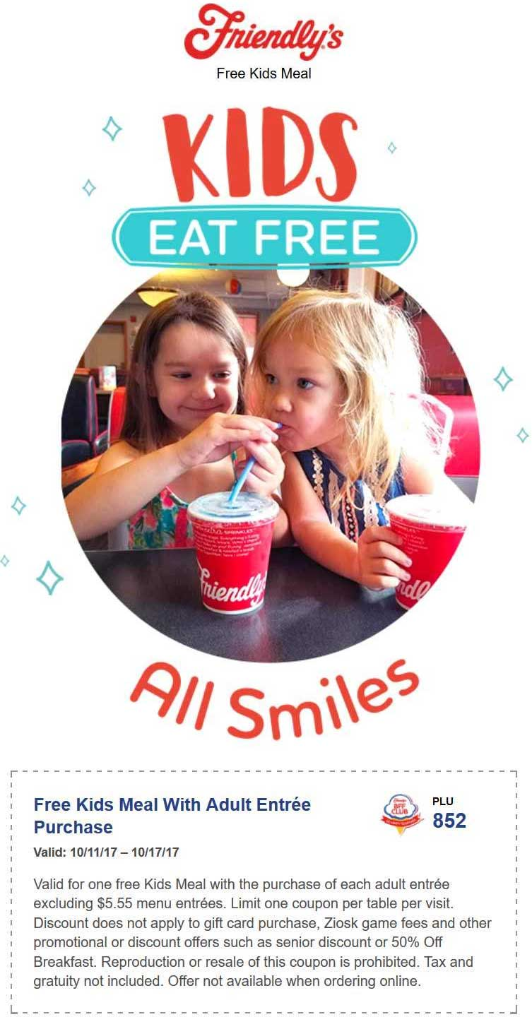 Friendlys Coupon March 2018 Kids eat free with your entree at Friendlys