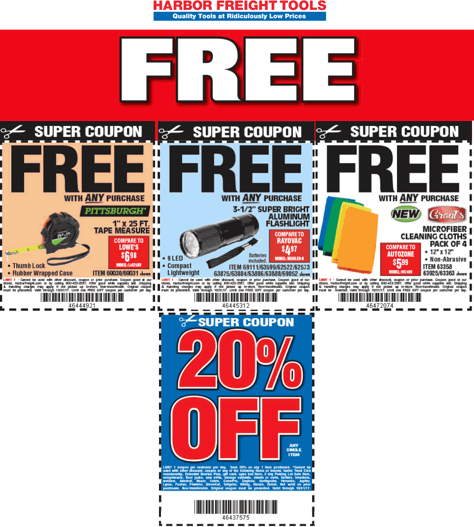 Harbor Freight Tools Coupon November 2017 20% off a single item & more at Harbor Freight Tools