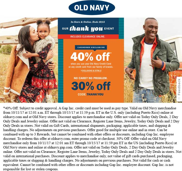OldNavy.com Promo Coupon 30% off at Old Navy, or online via promo code THANKYOU