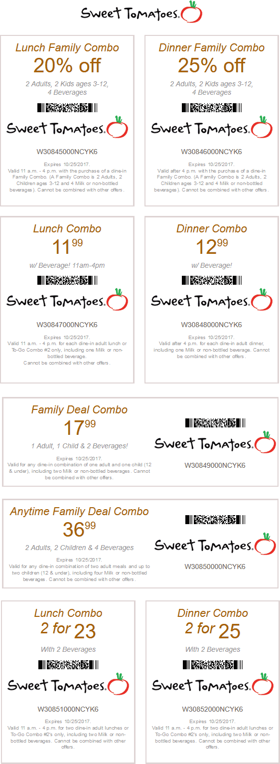 Sweet Tomatoes Coupon June 2018 20% off lunch, 25% off dinner at Sweet Tomatoes