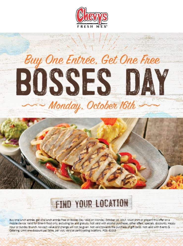 Chevys Fresh Mex Coupon March 2019 Second entree free Monday at Chevys Fresh Mex