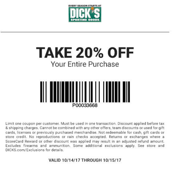 Dicks Coupon August 2018 20% off at Dicks sporting goods, ditto online
