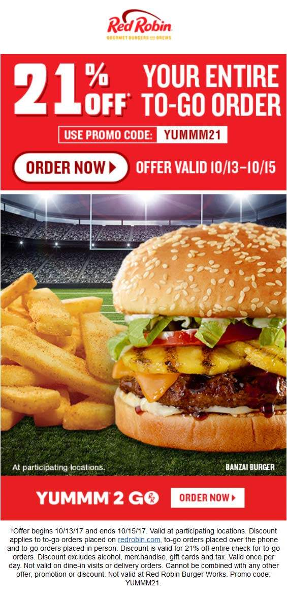 RedRobin.com Promo Coupon 21% off takeout at Red Robin via promo code YUMMM21