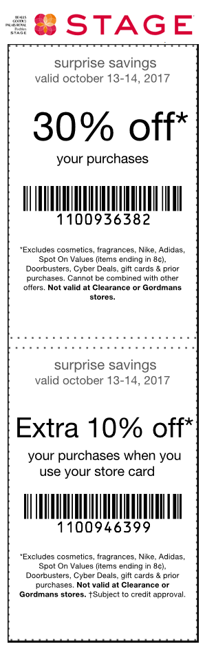 Stage Coupon January 2018 30% off today at Stage stores