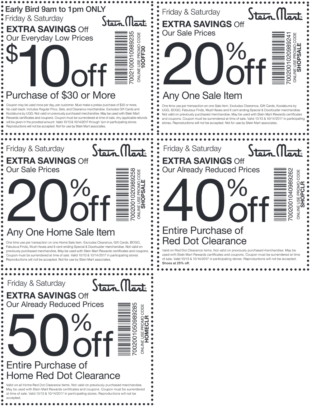 SteinMart.com Promo Coupon $10 off $30 & more today at Stein Mart, or online via promo code 10OFF30