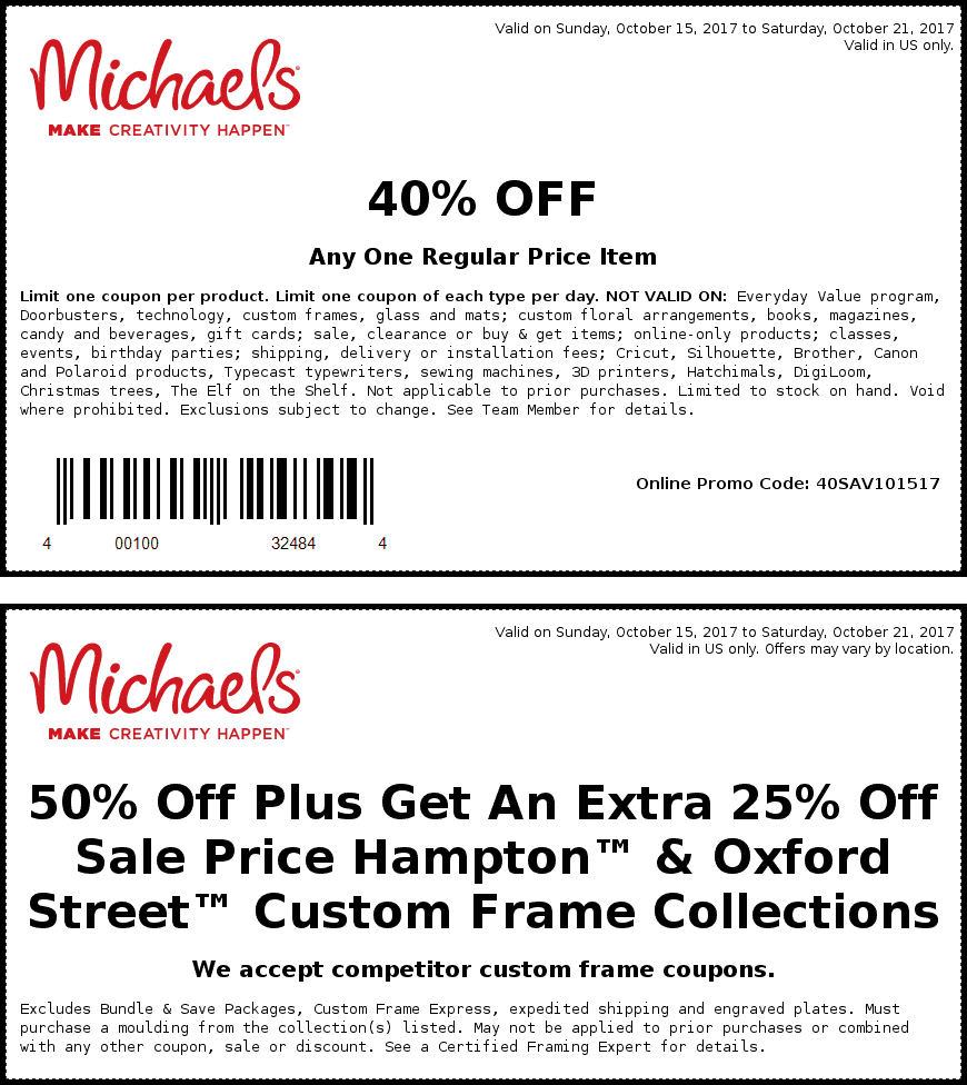 Michaels.com Promo Coupon 40% off a single item at Michaels, or online via promo code 40SAV101517
