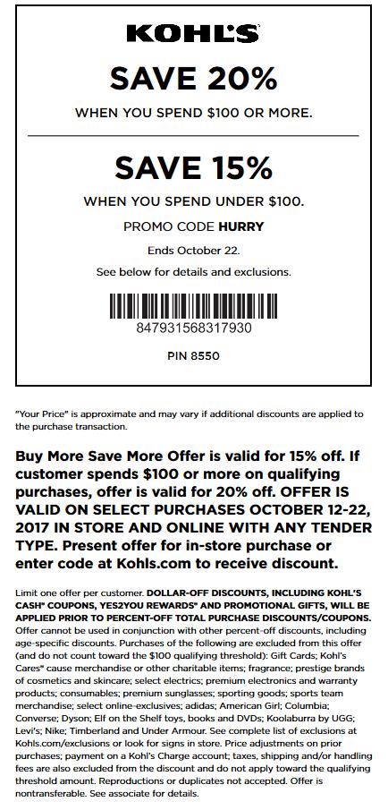 Kohls Coupon January 2018 15-20% off at Kohls, or online via promo code HURRY