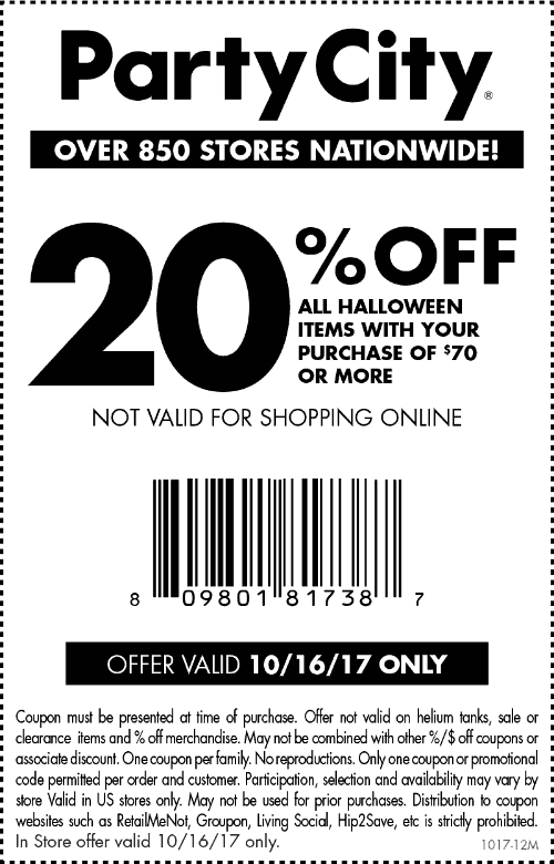 Party City Coupon December 2018 20% off $70 on Halloween items today at Party City