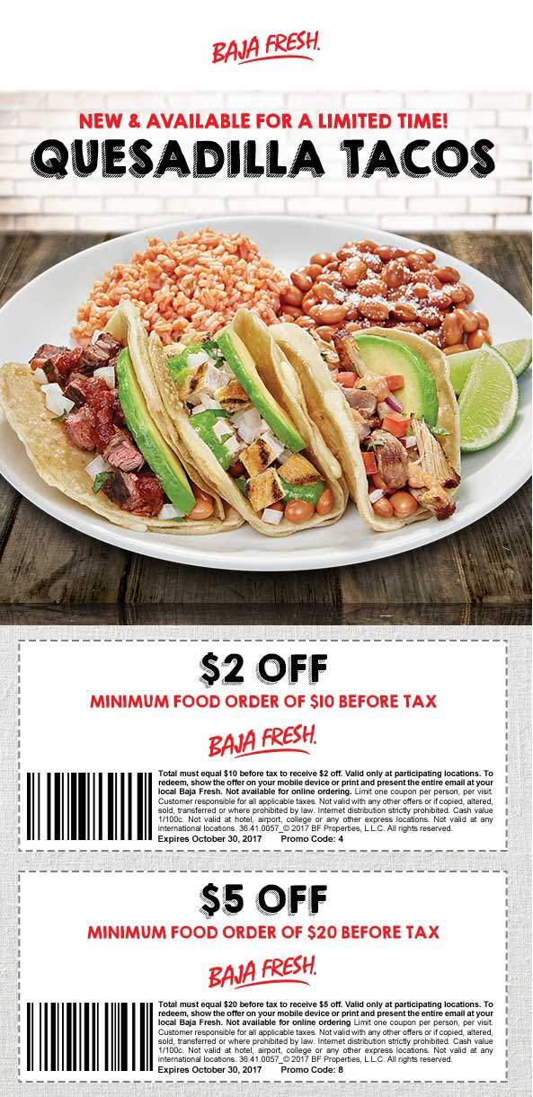 BajaFresh.com Promo Coupon $2 off $10 & more at Baja Fresh restaurants
