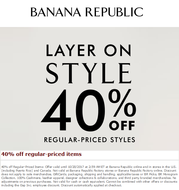 BananaRepublic.com Promo Coupon 40% off at Banana Republic, ditto online