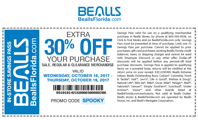 Bealls.com Promo Coupon Extra 30% off at Bealls, or online via promo code SPOOKY