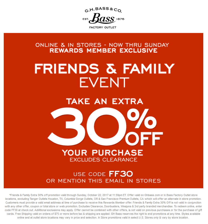 BassFactoryOutlet.com Promo Coupon Extra 30% off at Bass Factory Outlet, or online via promo code FF30