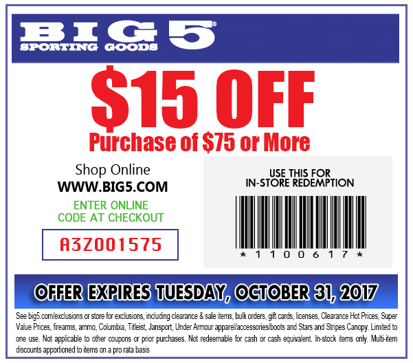 Big 5 Coupon August 2018 $15 off $75 at Big 5 sporting goods, or online via promo code A3Z001575
