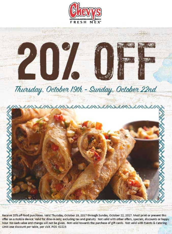 Chevys Fresh Mex Coupon August 2018 20% off at Chevys Fresh Mex restaurants