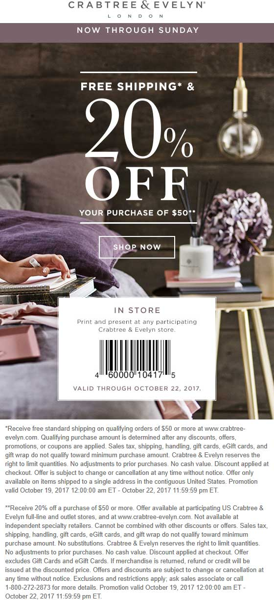 Crabtree & Evelyn Coupon November 2017 20% off $50 at Crabtree & Evelyn, ditto online