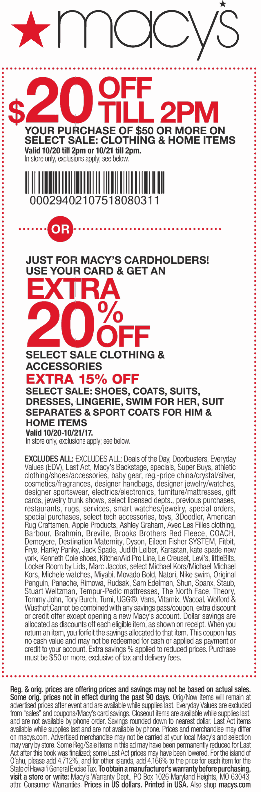 Macys Coupon March 2019 $20 off $50 til 2pm at Macys