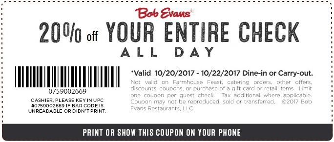 BobEvans.com Promo Coupon 20% off at Bob Evans restaurants