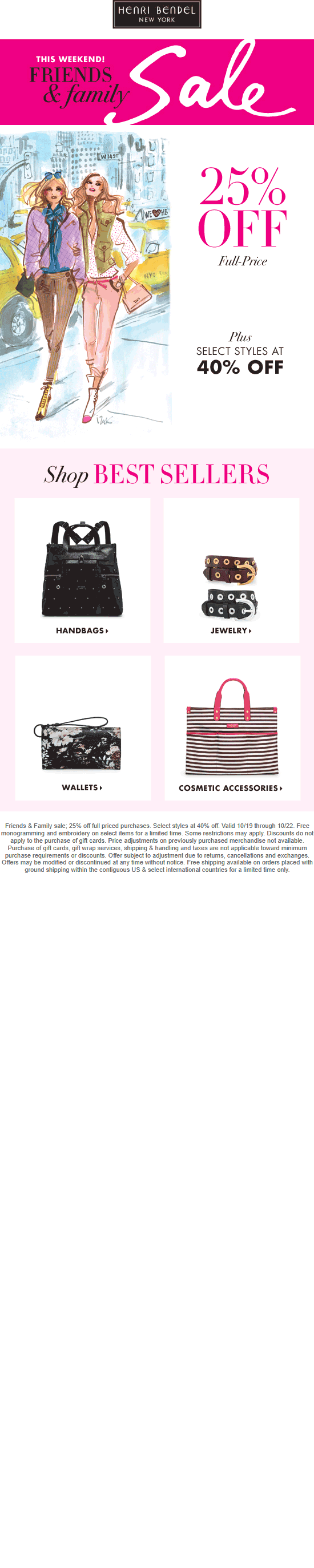Henri Bendel Coupon October 2018 25-40% off at Henri Bendel, ditto online