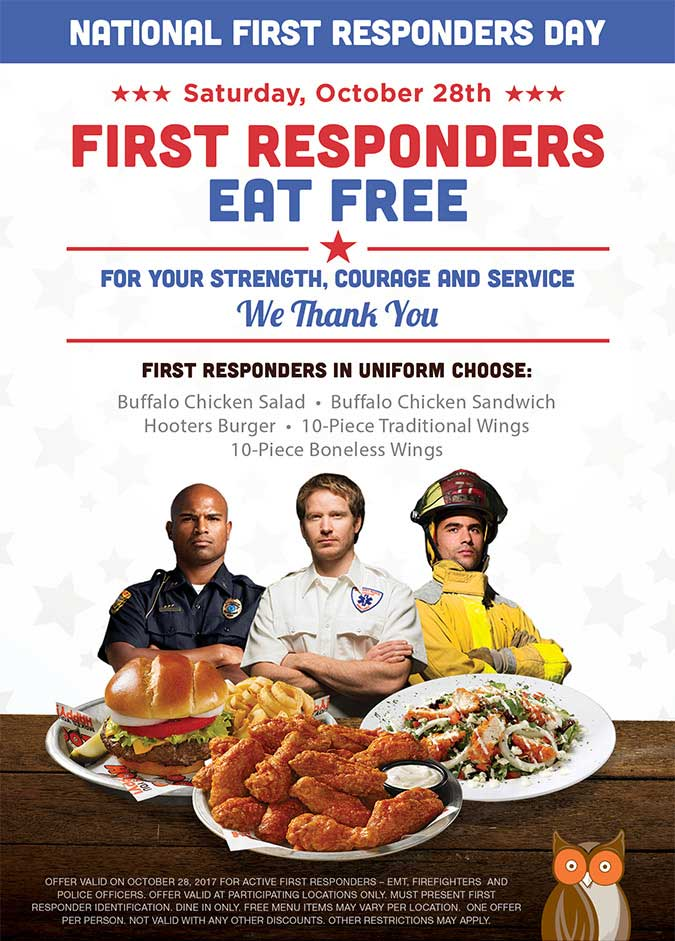 Hooters.com Promo Coupon First responders eat free the 28th at Hooters