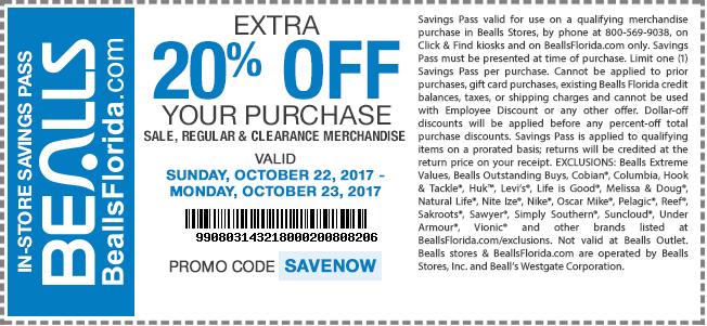 Bealls.com Promo Coupon Extra 20% off at Bealls, or online via promo code SAVENOW
