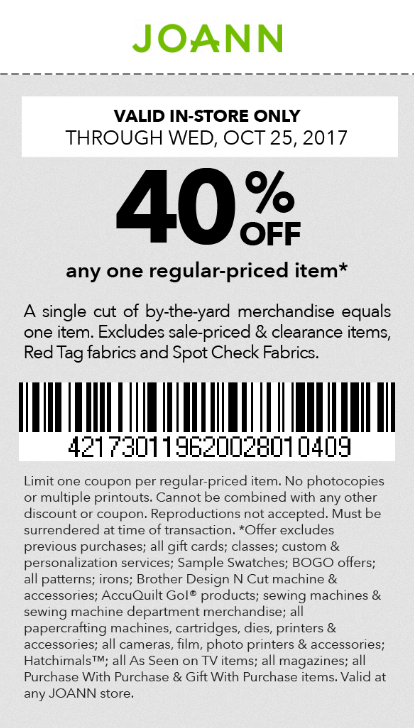 Jo-Ann Fabric Coupon March 2019 40% off a single item at Jo-Ann Fabric
