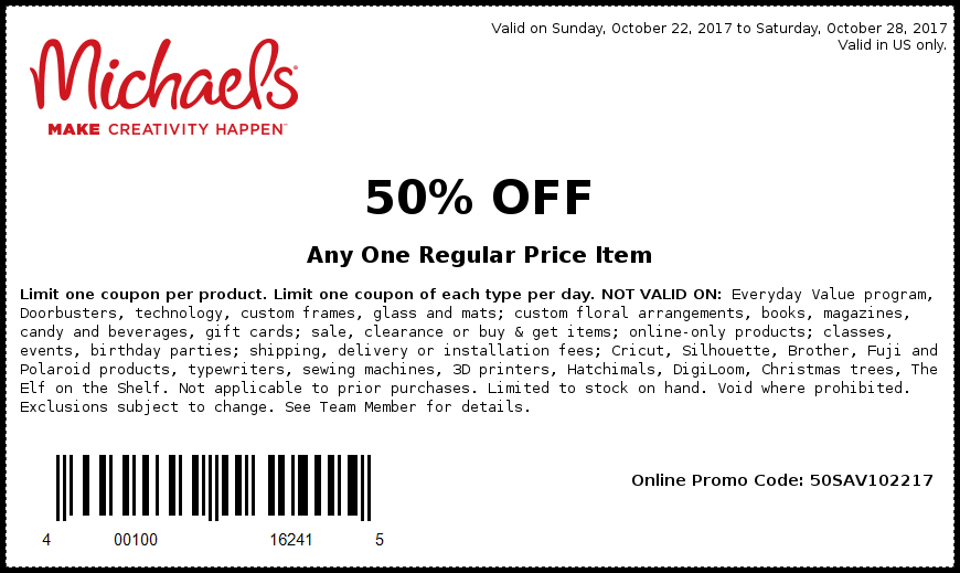 Michaels.com Promo Coupon 50% off a single item at Michaels, or online via promo code 50SAV102217