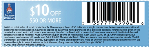 SherwinWilliams.com Promo Coupon $10 off $50 at Sherwin Williams paint