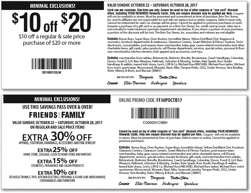 Carsons Coupon April 2018 $10 off $20 & more at Carsons, Bon Ton & sister stores, or 30% online via promo code FF30POCTB17