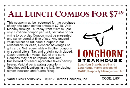 Longhorn Steakhouse Coupon August 2018 All lunch combo meals = $7.49 at Longhorn Steakhouse