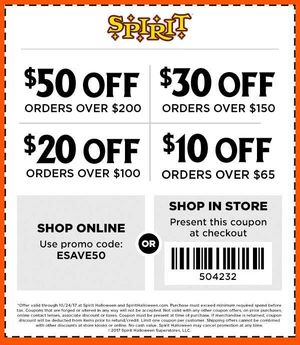 SpiritHalloween.com Promo Coupon $10 off $65 & more today at Spirit Halloween, or online via promo code ESAVE50