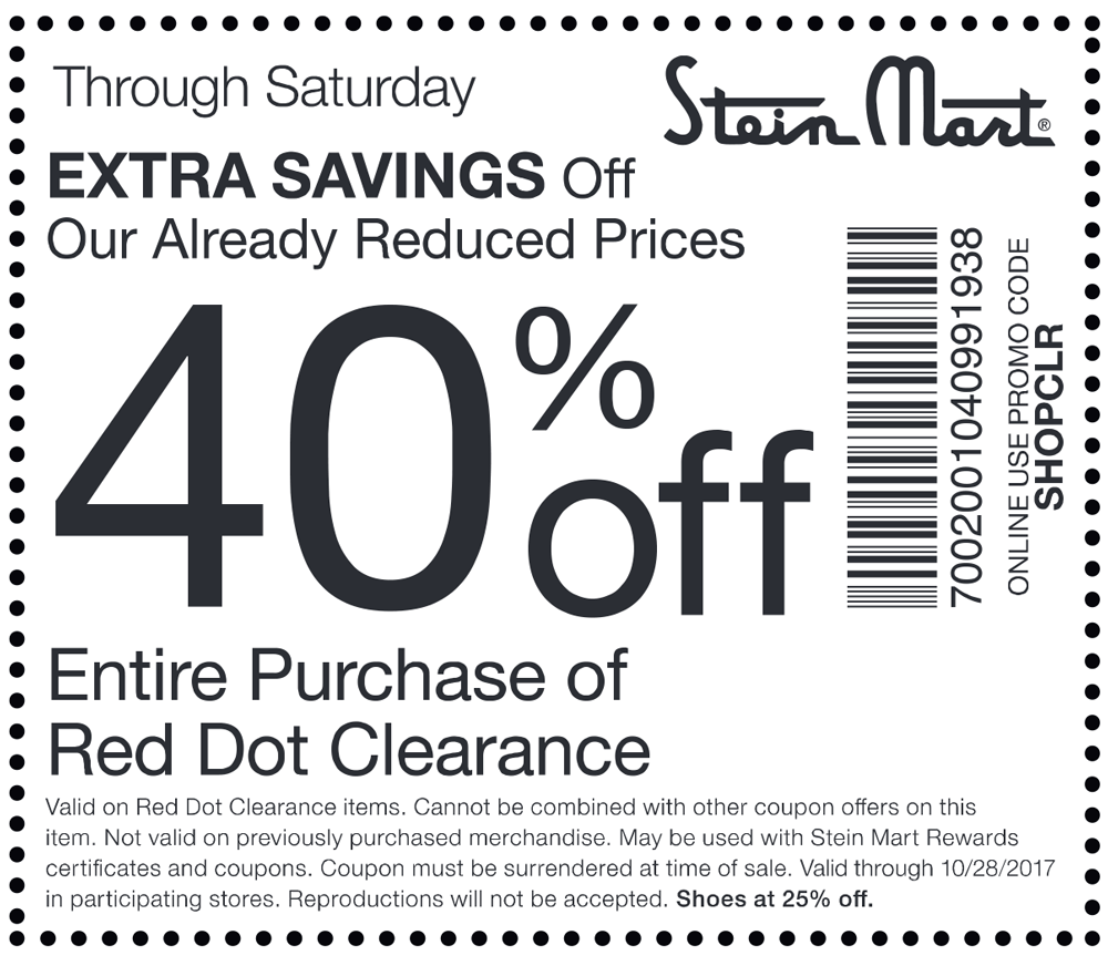 image relating to Stein Mart Printable Coupons titled Stein Mart discount coupons - Additional 40% off clearance at Stein