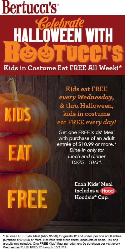 Bertuccis Coupon October 2018 Kids in costume free all week at Bertuccis restaurants
