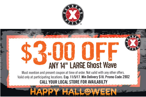 Extreme Pizza Coupon July 2019 $3 off a ghost pepper pizza at Extreme Pizza