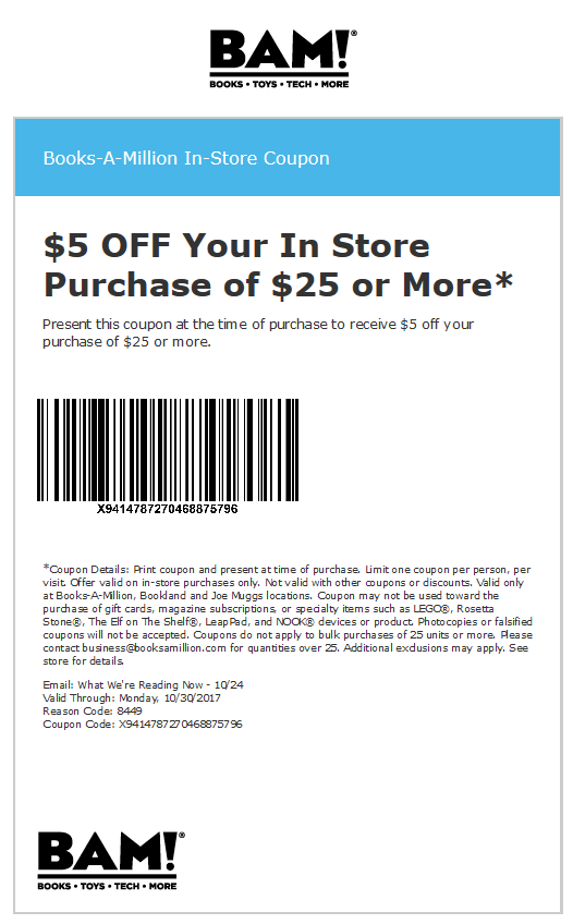 Books-A-Million Coupon August 2018 $5 off $25 at at Books-A-Million