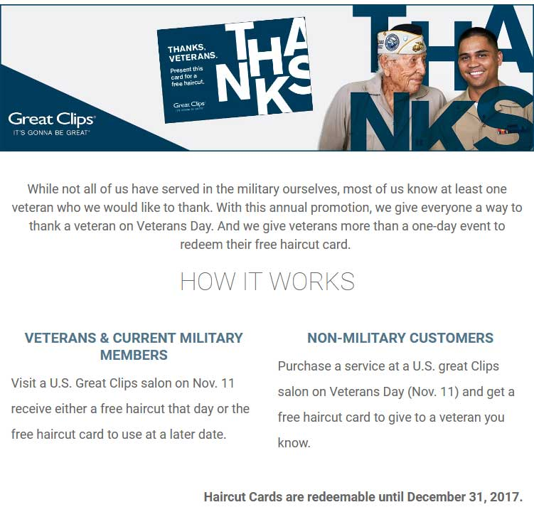 GreatClips.com Promo Coupon Veterans enjoy a free haircut the 11th at Great Clips