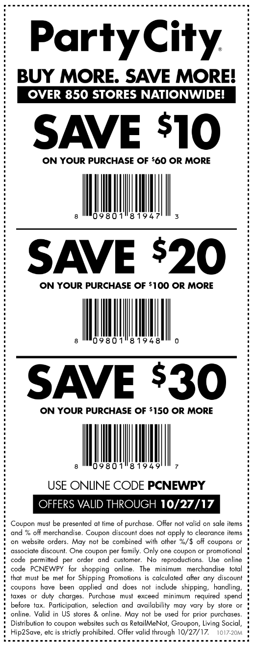 Party City Coupon December 2018 $10 off $60 & more at Party City, or online via promo code PCNEWPY