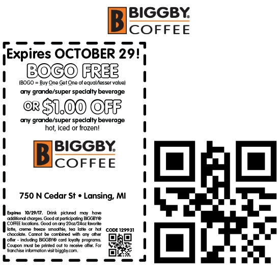 Biggby Coffee Coupon December 2018 Second drink free at Biggby Coffee