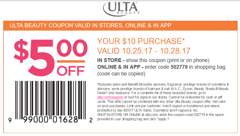 Ulta Beauty Coupon December 2018 $5 off $10 at Ulta Beauty, or online via promo code 502779