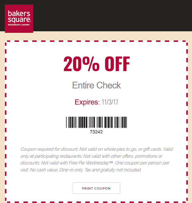Bakers Square Coupon October 2018 20% off at Bakers Square restaurants