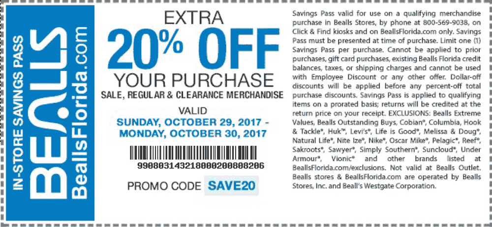 Bealls.com Promo Coupon Extra 20% off at Bealls, or online via promo code SAVE20