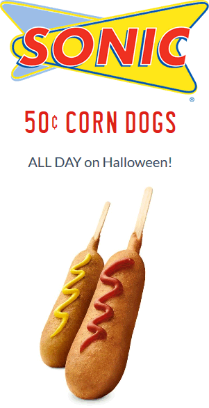 Sonic Drive-In Coupon August 2018 .50 cent corn dogs Tuesday at Sonic Drive-In restaurants