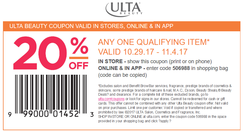 Ulta Beauty Coupon August 2018 20% off a single item at Ulta Beauty, or online via promo code 506988