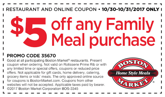 Boston Market Coupon March 2019 $5 of a family meal at Boston Market