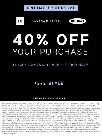 Old Navy Coupon August 2018 40% off online today at Gap, Banana Republic & Old Navy via promo code STYLE